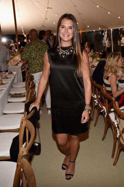Brooke Shields at the Net-a-porter x GOOD+ dinner at the Seinfeld's estate.