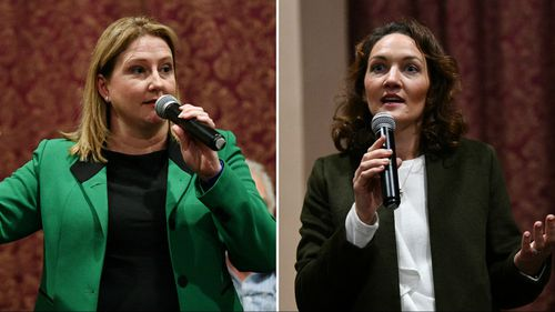 Rebekah Sharkie from the Centre Alliance Party, and Liberal candidate Georgina Downer, are the frontrunners in Mayo. (AAP)