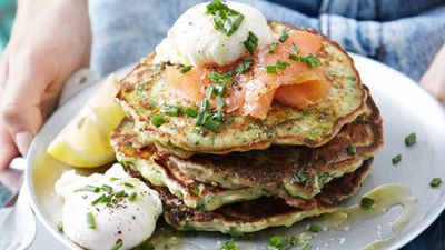 "<a href=""http://kitchen.nine.com.au/2017/01/31/14/02/chive-kale-and-parmesan-pancakes-with-poached-eggs"" target=""_top"">Chive, kale and parmesan pancakes with poachies</a><br> <br> <a href=""http://kitchen.nine.com.au/2017/01/31/14/57/sarah-wilsons-four-tips-to-start-the-day-well"" target=""_top"">RELATED: Sarah Wilson's four ways to set up a sugar free day</a>"