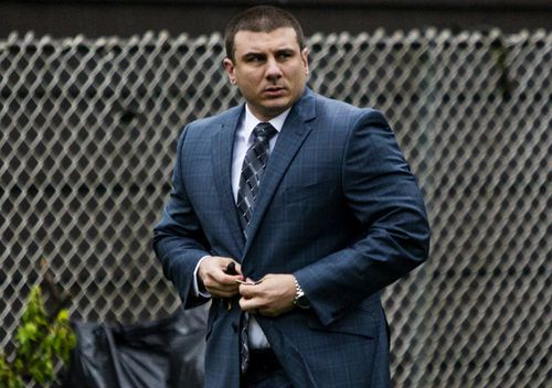 "Daniel Pantaleo leaves his house in Staten Island, New York. After five years of investigations and protests, New York City's police commissioner fired Pantaleo, an officer involved in the 2014 chokehold death of an unarmed black man whose dying cries of ""I can't breathe"" fueled a national debate over race and police use of force."