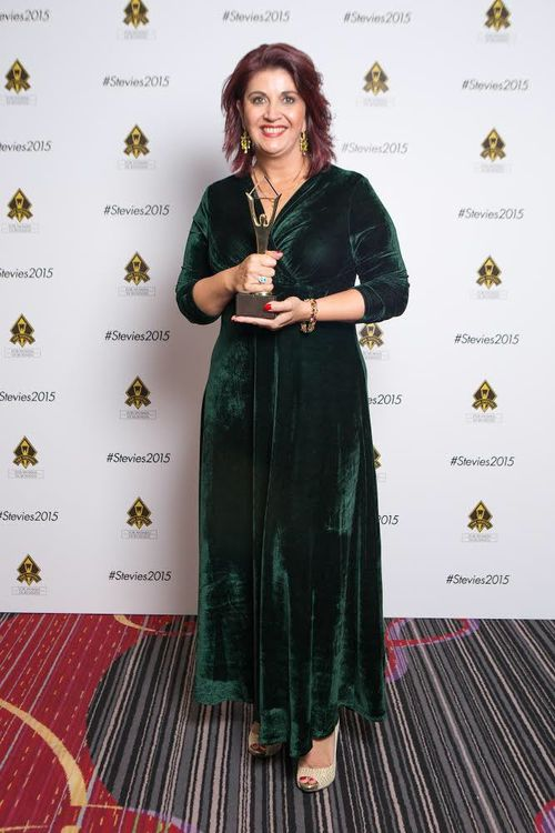 Shar Moore announced as the 2015 winner of the Gold International Stevie Award in New York. Picture: Supplied