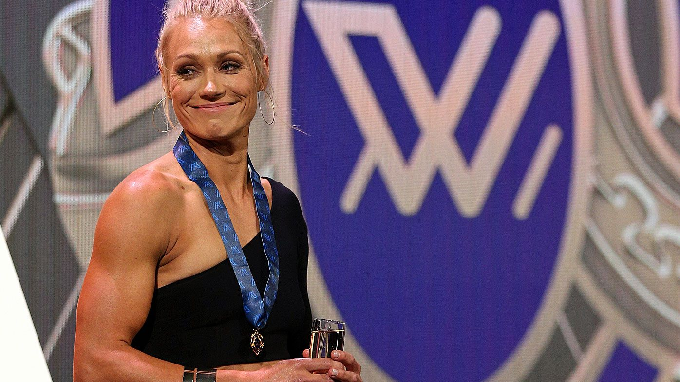 Erin Phillips of the Crows wins the Best and Fairest Award