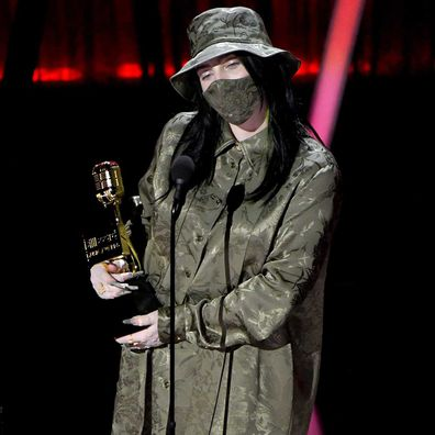 Billie Eilish accepts the Top Female Artist Award onstage at the 2020 Billboard Music Awards.