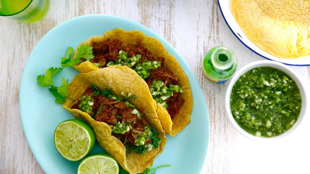 Jacqueline Alwill's slow cooked Mexican beef with cucumber, apple and jalapeño salsa, courtesy of You're Better On Beef