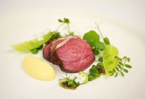 Slow cooked lamb rump, pea and mint salad, potato cream, pepper jus, mint jelly