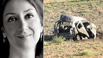 Daphne Galizia and the wreckage of her car. (AAP)