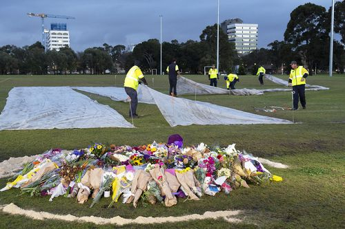 The makeshift memorial to Ms Dixon was vandalised overnight. Picture: 9NEWS