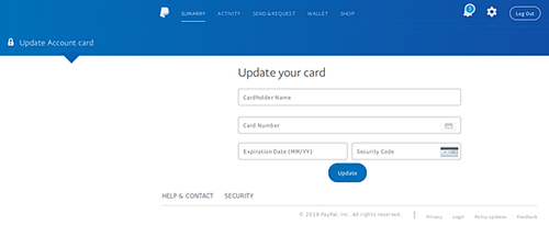 The fake page designed to harvest credit card information has been designed to look like PayPal. Picture: MailGuard