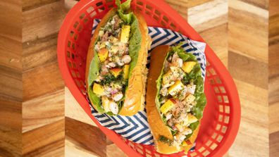 Creamy and spicy yellow nectarine and prawn rolls are summer in a bun