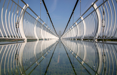 A view of a glass-bottomed skywalk on May 21, 2020 in Xiangyang, Hubei Province of China.