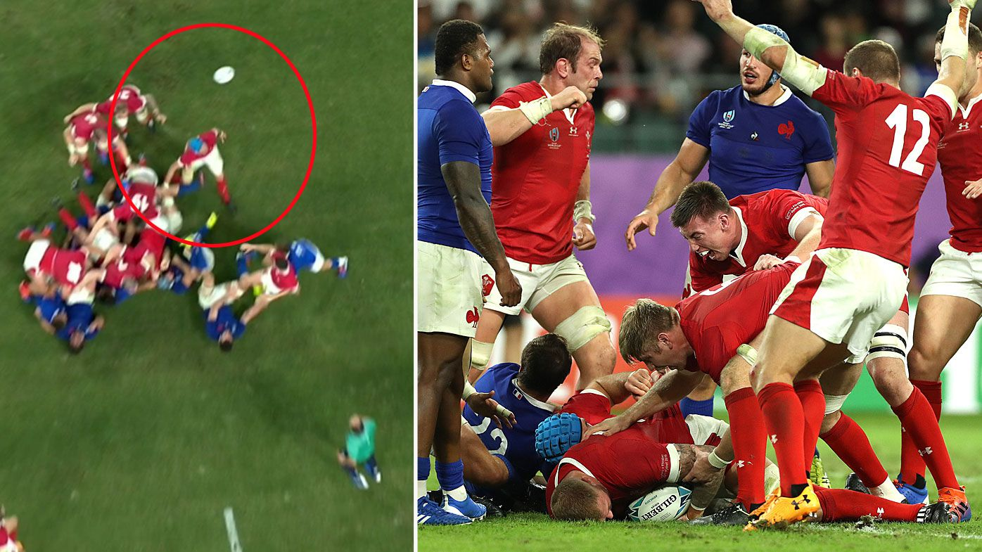 The strip that on TMO review was called not forward and led to Wales' decisive game-winning try against France