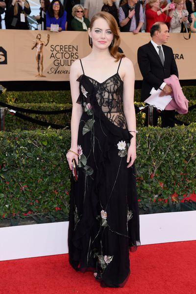 Emma Stone in Alexander McQueen at the 2017 Screen Actors Guild Awards
