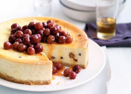 Ricotta and honey torte with scorched honey grapes