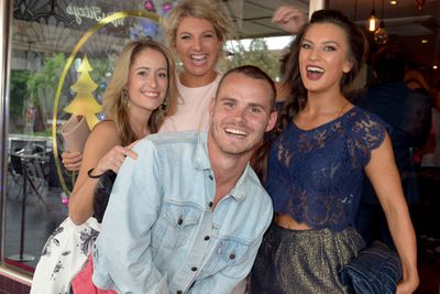 That quick doze obviously paid off! Sam's looking all cheery with ex-housemates Cat Law, Sandra Nixon and Penny Higgs.