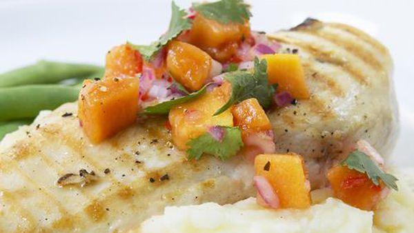 Chicken fillet with pawpaw salsa