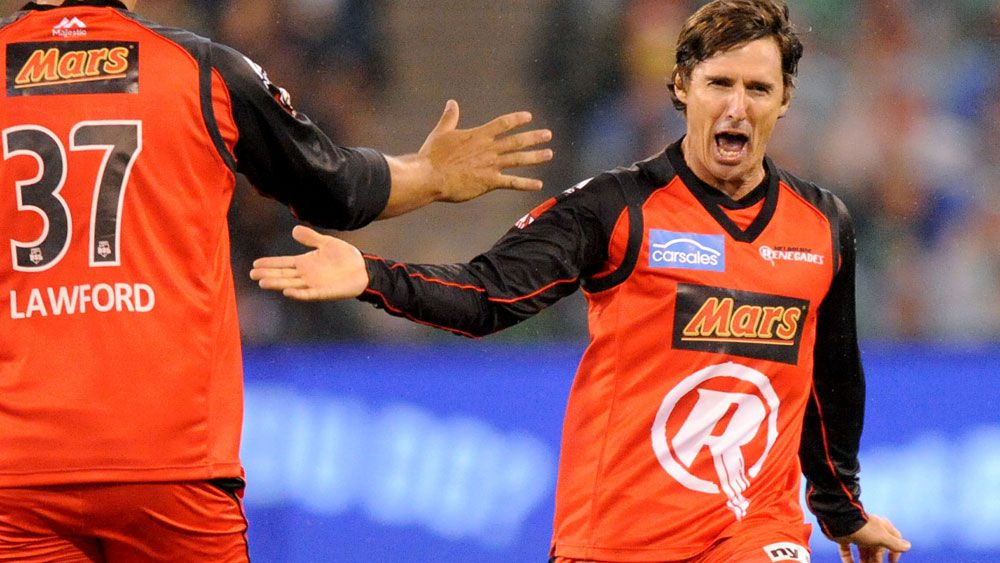 Brad Hogg left his mark on the Big Bash game at the MCG. (AAP)