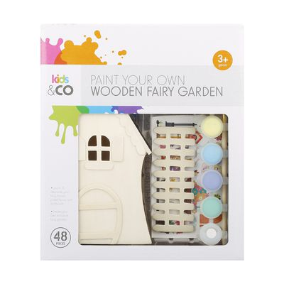 "<a href=""http://www.kmart.com.au/product/48-piece-paint-your-own-wooden-fairy-garden/1181315"" target=""_blank"">Kmart 48-piece Paint Your Own Wooden Fairy Garden, $10.</a>"