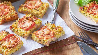 """Recipe: <a href=""""http://kitchen.nine.com.au/2017/01/30/09/28/ham-and-vegetable-noodle-slice"""" target=""""_top"""">Ham and vegetable noodle slice</a>"""