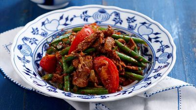"Recipe: <a href=""http://kitchen.nine.com.au/2016/05/05/16/25/chilli-jam-pork-and-bean"" target=""_top"">Chilli jam pork and bean</a>"