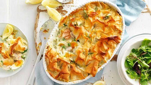 Salmon and white fish pie