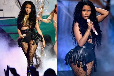 Phwoar! Nicki Minaj performed 'Pills N Potions' in...chains?! <br/><br/>This <i>is</i> after riding onto a mushroom-ridden stage surrounded by bunnies... #wonderland