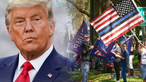 Donald Trump supporters gather as former president gives first speech post White House exit