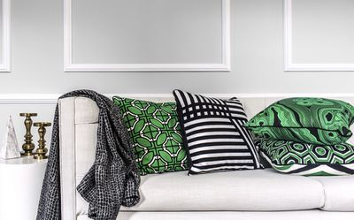 """From L-R: South Beach cushions $139.95, Stripes $84.99, Malachite $74.99 and the Manhattan cushion $139.99, <a href=""""http://www.gregnatale.com/collection/cushions-throws"""" target=""""_blank"""">Greg Natale Home</a>, <a href=""""http://www.myer.com.au/"""" target=""""_blank"""">Myer</a>"""