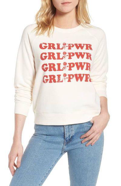 "Rebecca Minkoff <a href=""https://shop.nordstrom.com/s/rebecca-minkoff-girl-power-sweatshirt/4907387?cm_mmc=Linkshare-_-partner-_-10-_-1&siteId=tv2R4u9rImY-SELOqNklRKheBlMUeKmhLQ"" target=""_blank"">Girl Power sweatshirt</a>, $120.28<br>"