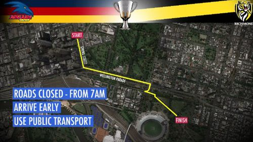 The Grand Final parade will take place from midday tomorrow. (9NEWS)