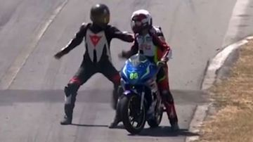 Fists fly as riders involved in bizarre collision