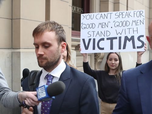 The offender was confronted by feminists outside court.