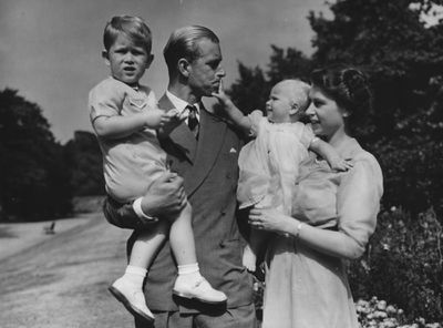 Princess Elizabeth and Prince Philip with Prince Charles and Princess Anne, August 1951