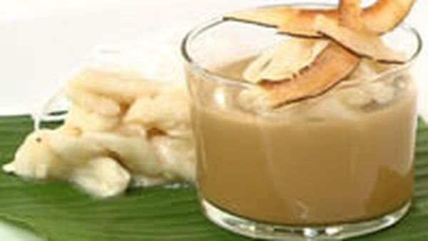 Custard apple and Thai coffee pudding