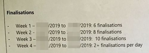 An excerpt from a former Centrelink compliance officer's performance review documents, which stated how many debt finalisations she was required to achieve.