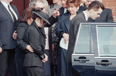 The funeral of James Bulger at Sacred Heart Church in 1993.