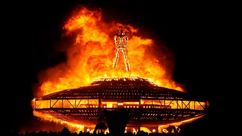 "The ""Man"" burns on the Black Rock Desert at Burning Man near Gerlach, Nevada in 2013. (AP)"