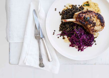 Mustard and sage pork cutlets with red wine cabbage and lentils