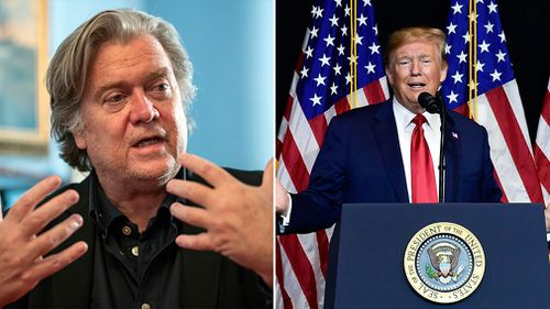 """US President Donald Trump is facing a """"coup"""", former White House chief strategist Steve Bannon says."""