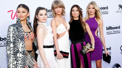 Stars have hit the red carpet at the 2015 Billboard Music Awards at the MGM Grand Garden Arena in Las Vegas. Pictured from left Zendaya, Hailee Steinfeld, Taylor Swift, Lily Aldridge, and Martha Hunt. (AAP)