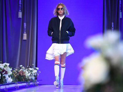 A model takes part in the dress rehearsal. (AAP)