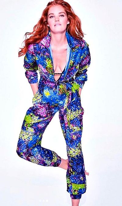 A VS model wears the tropical-print boiler suit featured in the new&nbsp;<em>VS Loves Mary Katrantzou</em>&nbsp;collection.
