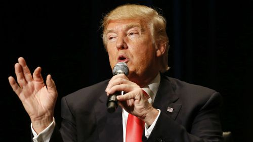Donald Trump speaks during a campaign event at the Orpheum Theatre in Sioux City, Iowa. (AP Photo/Patrick Semansky)
