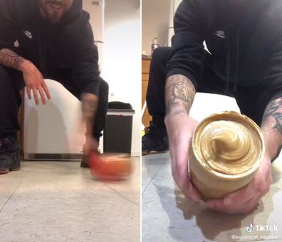 Spinning jars of peanut butter