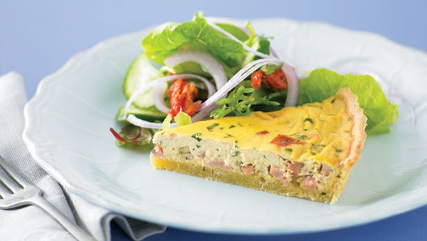 Ham tomato and parmesan quiche
