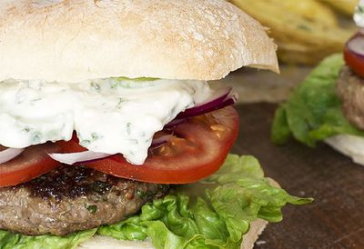 "<a href=""http://kitchen.nine.com.au/2016/05/05/14/20/greek-lamb-burgers-with-creamy-feta-and-cucumber-sauce-and-lemony-wedges"" target=""_top"">Greek lamb burgers with creamy feta and cucumber sauce and lemony wedges<br> </a>"