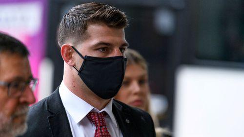 NRL player Curtis Scott arriving at court in Sydney.