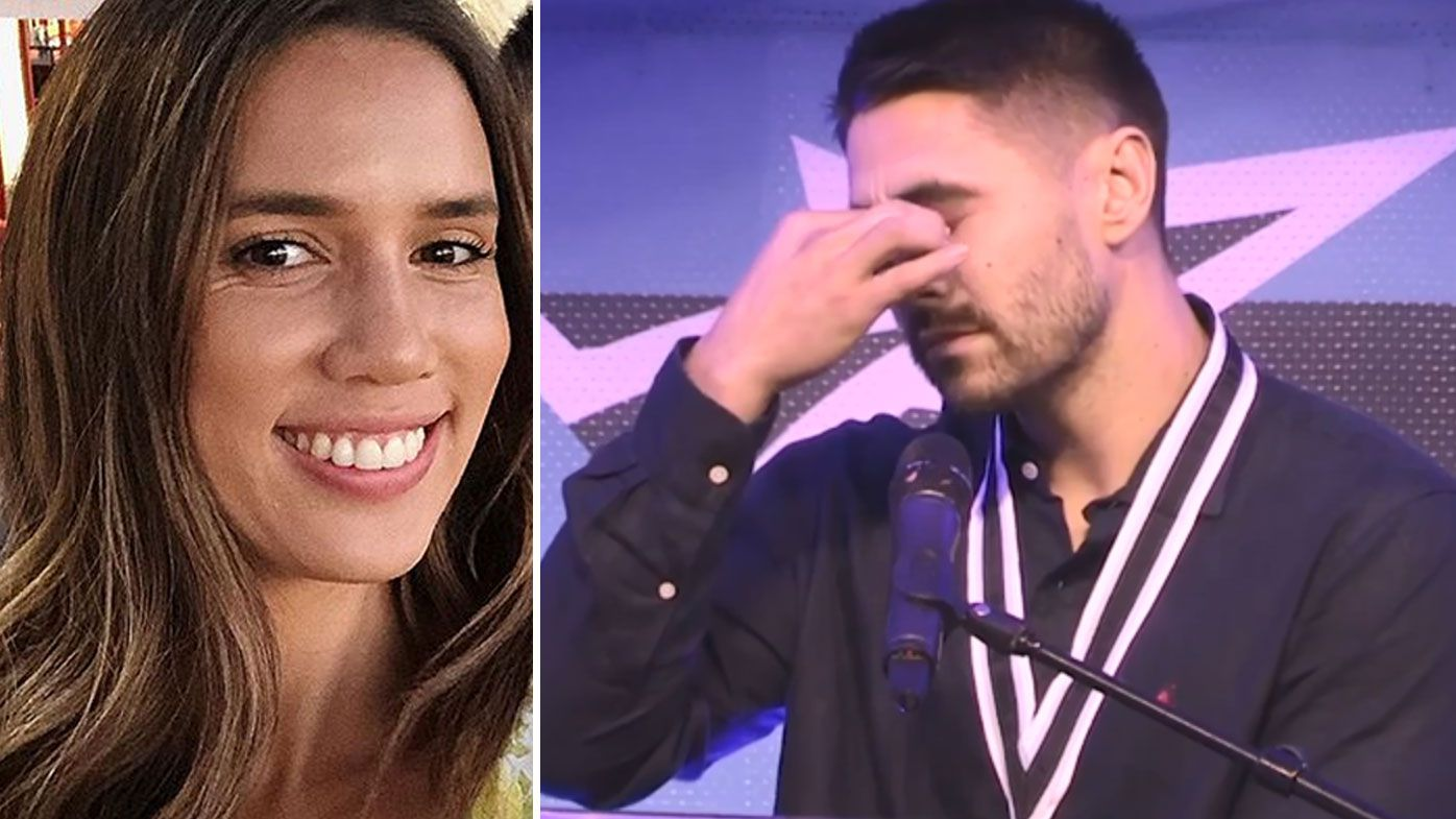'I can never repay you': Sharks player of the year Shaun Johnson's tearful tribute to wife Kayla
