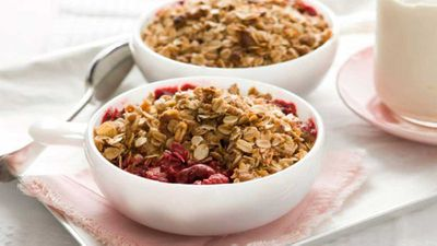 "Recipe:&nbsp;<a href=""http://kitchen.nine.com.au/2016/05/13/12/46/cherry-raspberry-oat-crumble"" target=""_top"">Cherry &amp; raspberry oat crumble</a>"