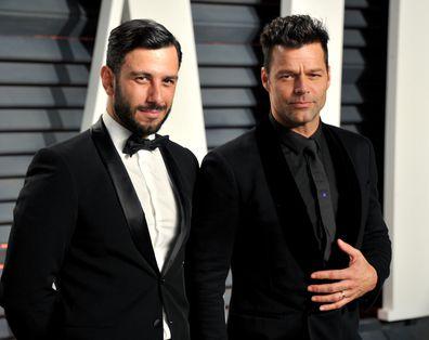 Ricky Martin arrives at the 2017 Vanity Fair Oscar Party.