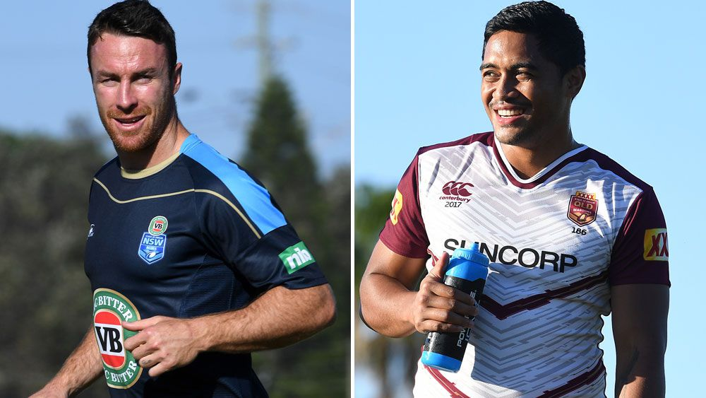 Rival State of Origin five-eights James Maloney and Anthony Milford. (AAP)